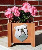 Bulldog Planter Flower Pot White