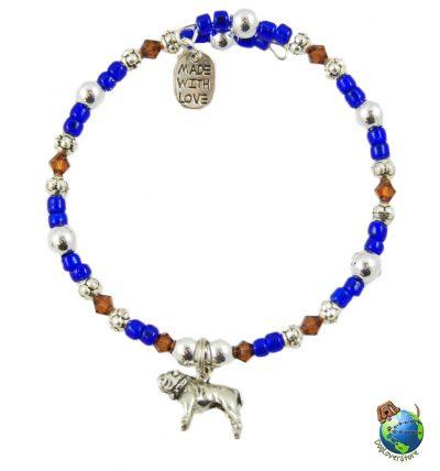 Bulldog Beaded Charm Bracelet Silver Handmade 1