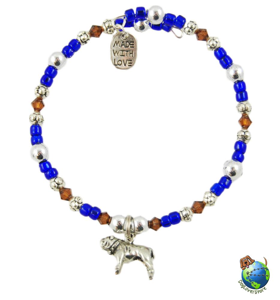 Bulldog Beaded Charm Bracelet Silver Handmade