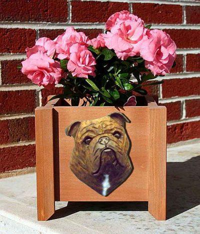 Bulldog Planter Flower Pot Brindle