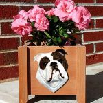 Bulldog Planter Flower Pot Brindle White 1