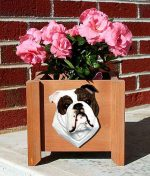 Bulldog Planter Flower Pot Brindle White