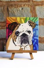 Bulldog Tan/White Colorful Portrait Original Artwork on Ceramic Tile 4x4 Inches