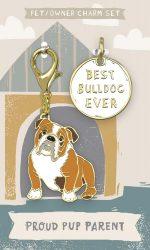 Bulldog Collar Charm and Keychain Set
