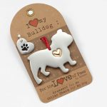 Bulldog Holiday Ornament & Collar Charm Set