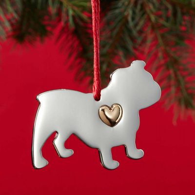 Bulldog Holiday Ornament & Collar Charm Set 2