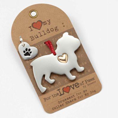 Bulldog Holiday Ornament & Collar Charm Set 1