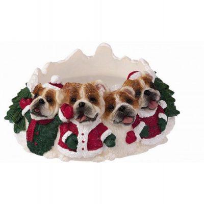 Bulldog Holiday Candle Topper Ring