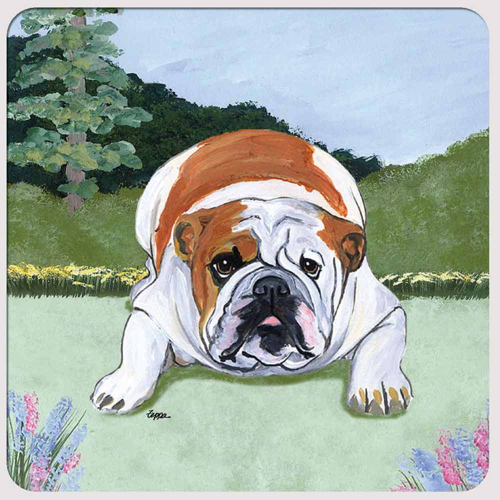 Bulldog Yard Scene Coasters Set of 4