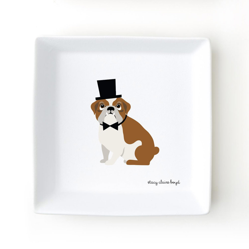 Bulldog Jewelry Trinket Dish