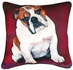 Bulldog Artistic Throw Pillow 18X18""