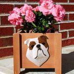 Bulldog Planter Flower Pot Red 1