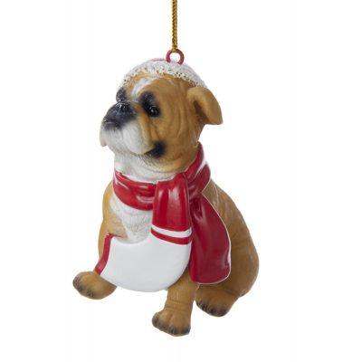 Bulldog Resin Santa Ornament 3