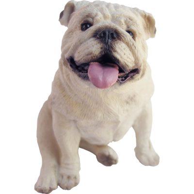 Bulldog Sandicast Figurine White Small Size