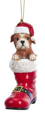 Bulldog Santa Boot Ornament