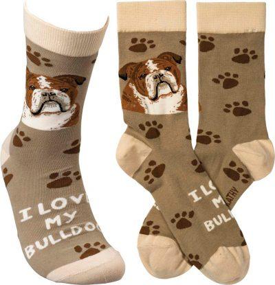 I Love My Bulldog Socks By Kathy