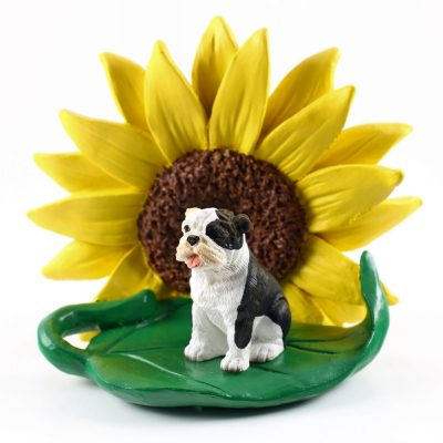 Bulldog Brindle Figurine Sitting on a Green Leaf in Front of a Yellow Sunflower