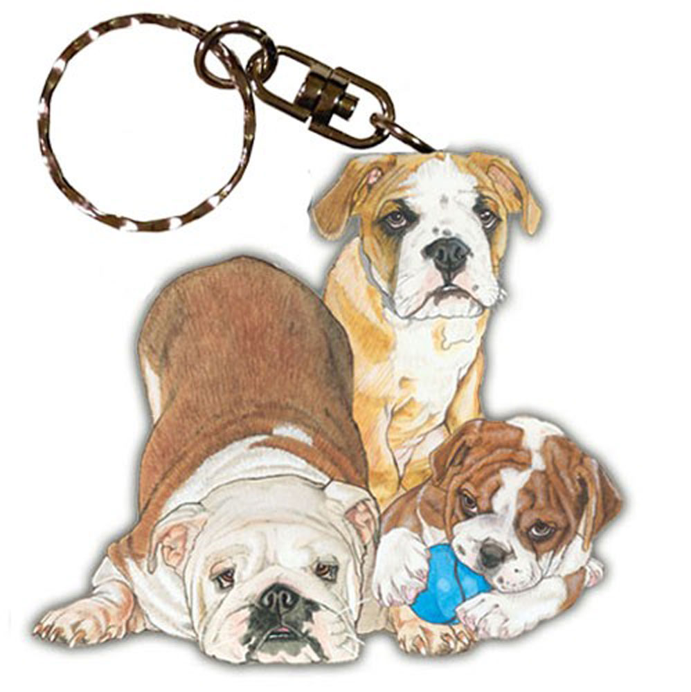Bulldog Wooden Keychain Family