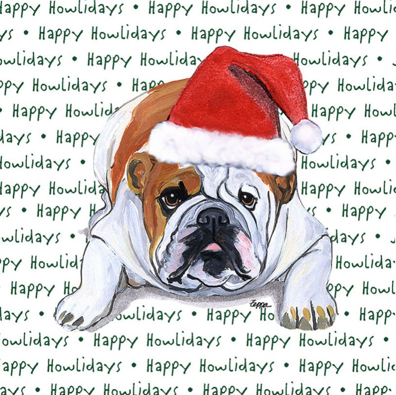 Bulldog Dog Coasters Christmas Themed