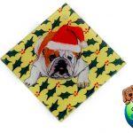 Bulldog Dog Crystal Glass Holiday Christmas Ornament 1