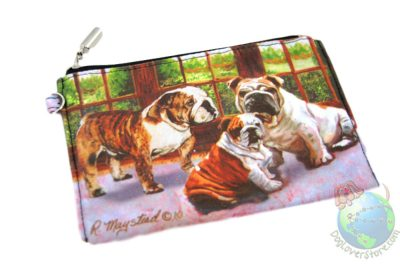Bulldog Family Sitting in House on Zippered Wallet Pouch