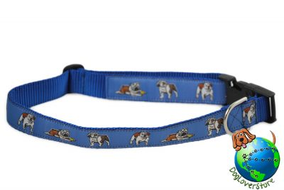 Bulldog Dog Breed Adjustable Nylon Collar Extra Large XL 13-26″ Blue 1