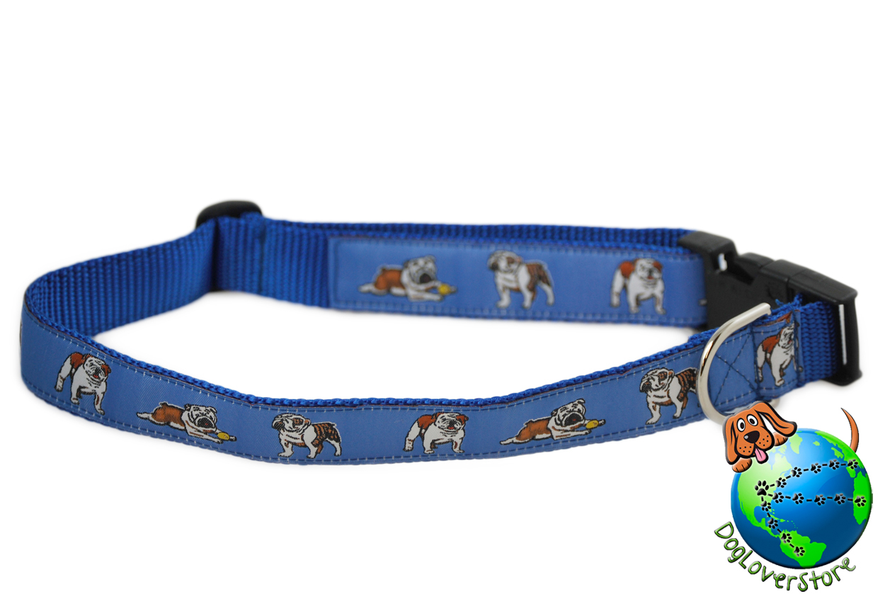 "Bulldog Dog Breed Adjustable Nylon Collar Extra Large XL 13-26"" Blue"