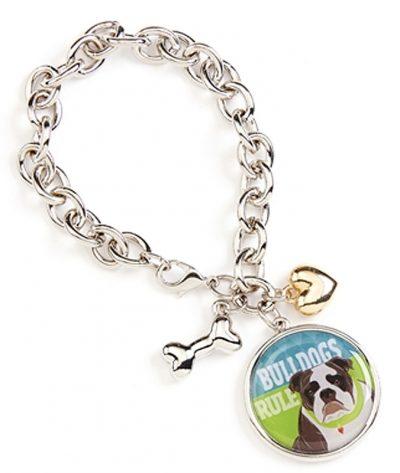 Bulldog Charm Bracelet w/ Heart & Bone Silver