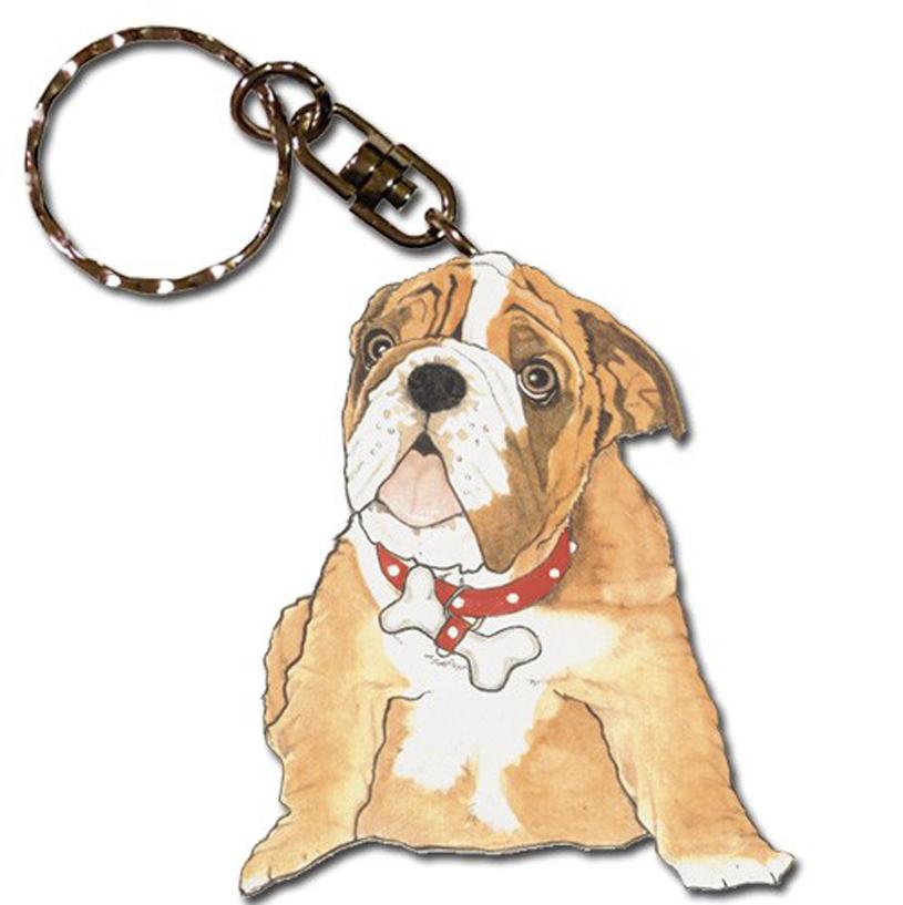 Bulldog Wooden Dog Breed Keychain Key Ring