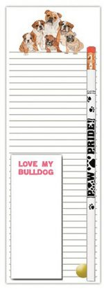 Bulldog Dog Notepads To Do List Pad Pencil Gift Set
