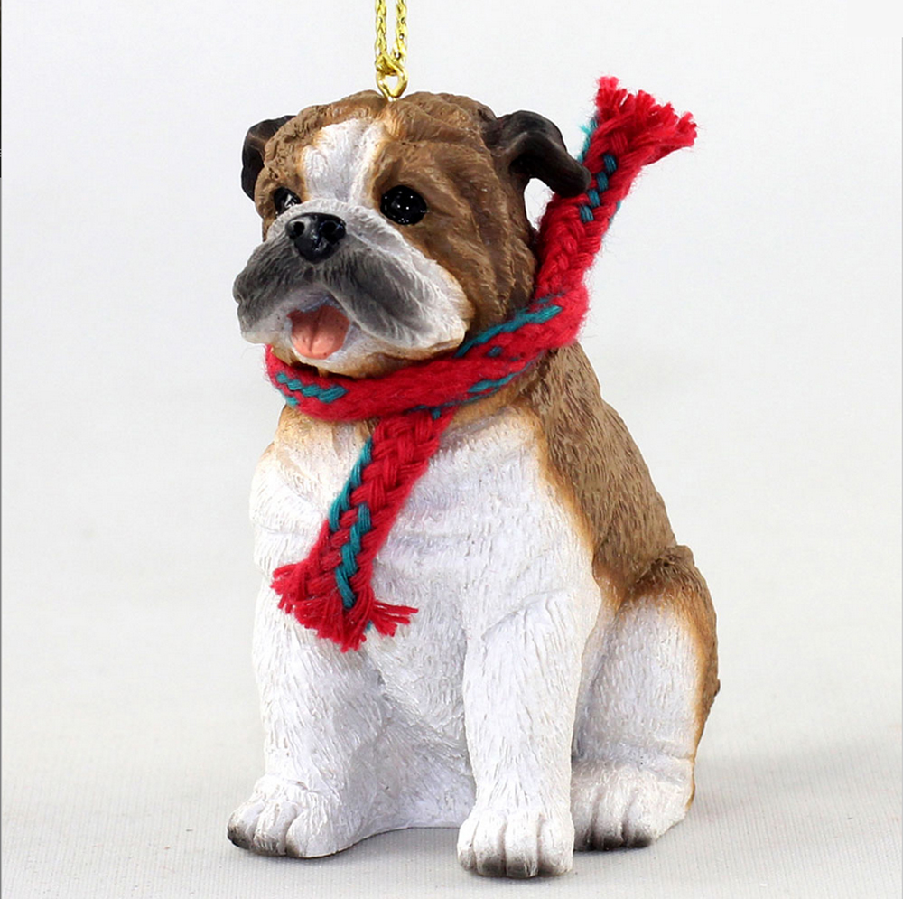 Bulldog Dog Christmas Ornament Scarf Figurine