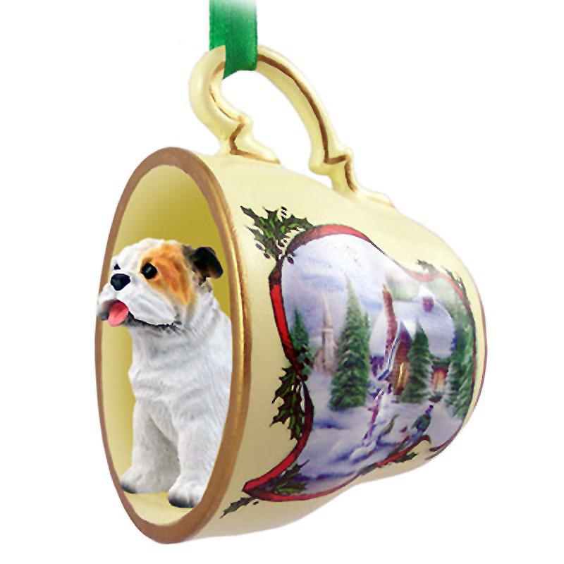 Bulldog dog christmas holiday teacup ornament figurine white