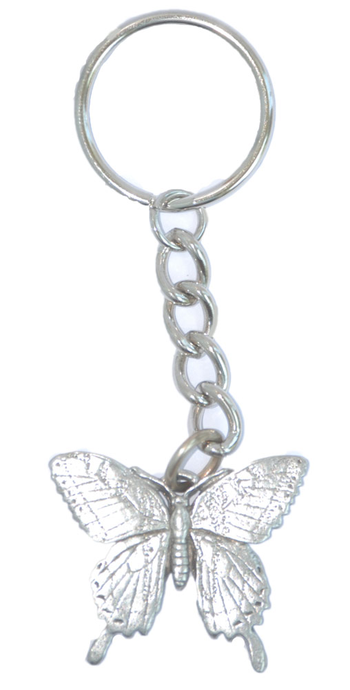 Butterfly Keychain Silver Pewter Key Chain Ring
