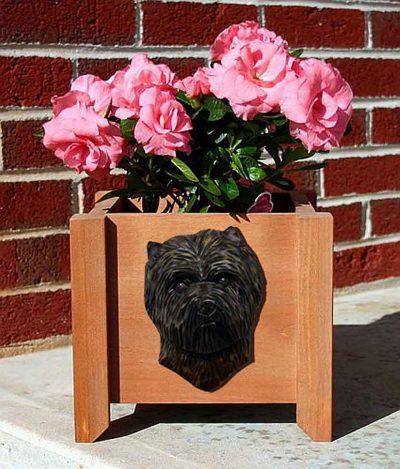 Cairn Terrier Planter Flower Pot Black Brindle 1