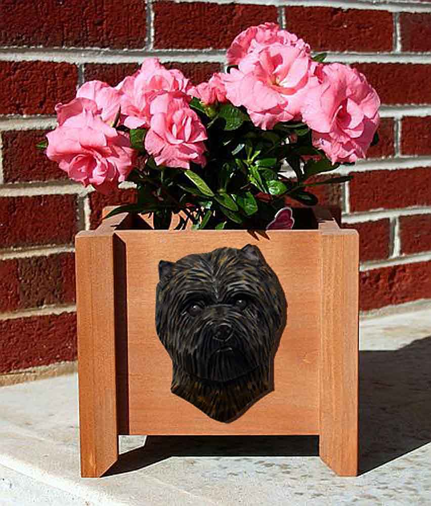 Cairn Terrier Planter Flower Pot Black Brindle