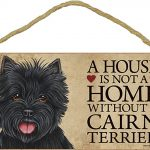 Cairn Terrier Indoor Dog Breed Sign Plaque – A House Is Not A Home Black + Bonus Coaster 1