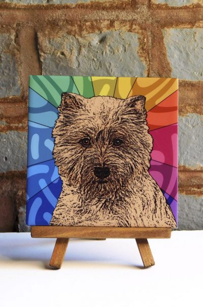Cairn Terrier Red/Brown Colorful Portrait Original Artwork on Ceramic Tile 4x4 Inches