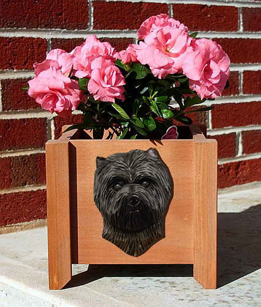 Cairn Terrier Planter Flower Pot Dark Grey