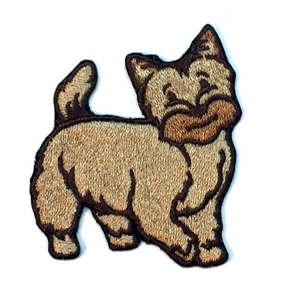 Cairn Terrier Iron on Embroidered Patch Red