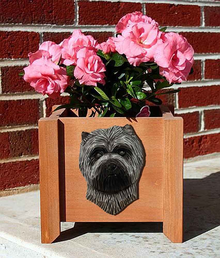 Cairn Terrier Planter Flower Pot Light Grey