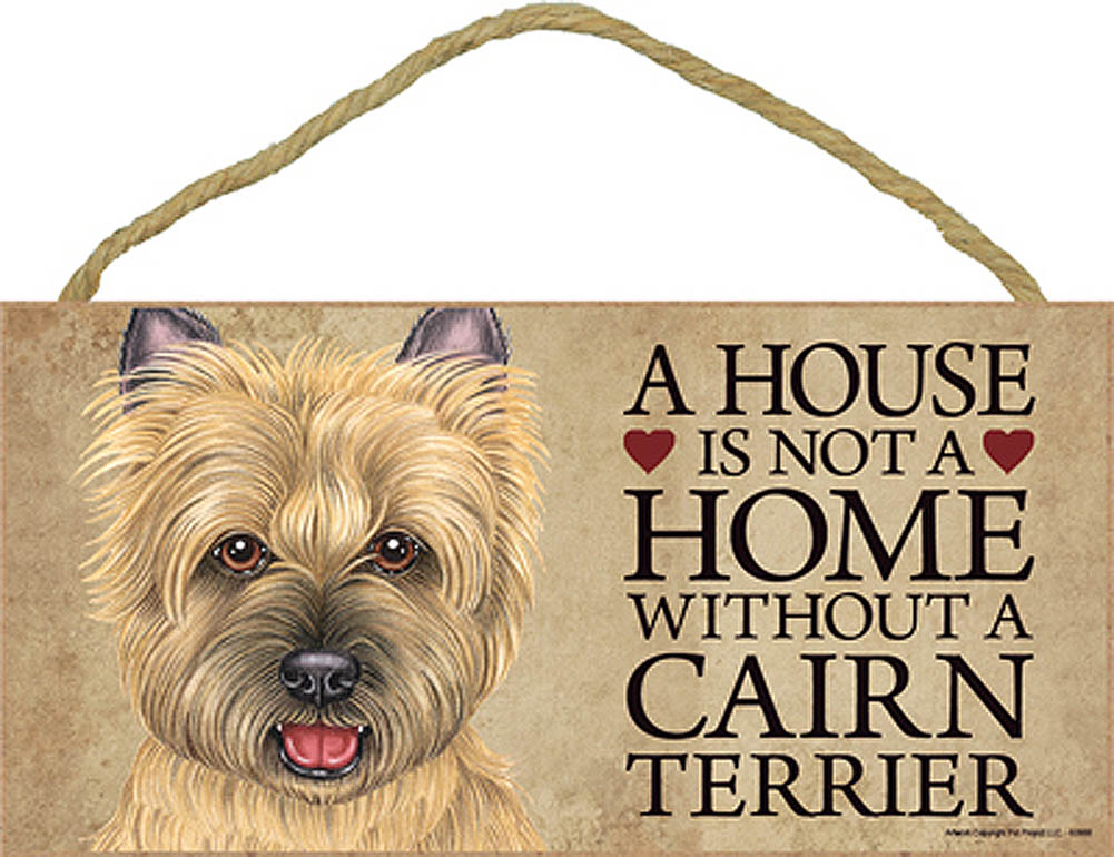 Cairn Terrier Wood Dog Sign Wall Plaque Photo Display 5 x 10 - House Is Not A Ho + Bonus Coaster