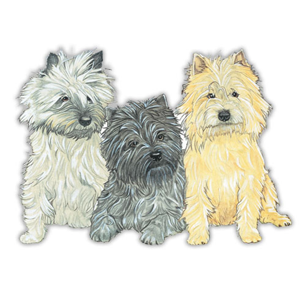 Cairn Terrier Wooden Magnet Gray & Black & Red