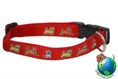 """Cairn Terrier Dog Breed Adjustable Nylon Collar Medium 10-16"""" Red"""