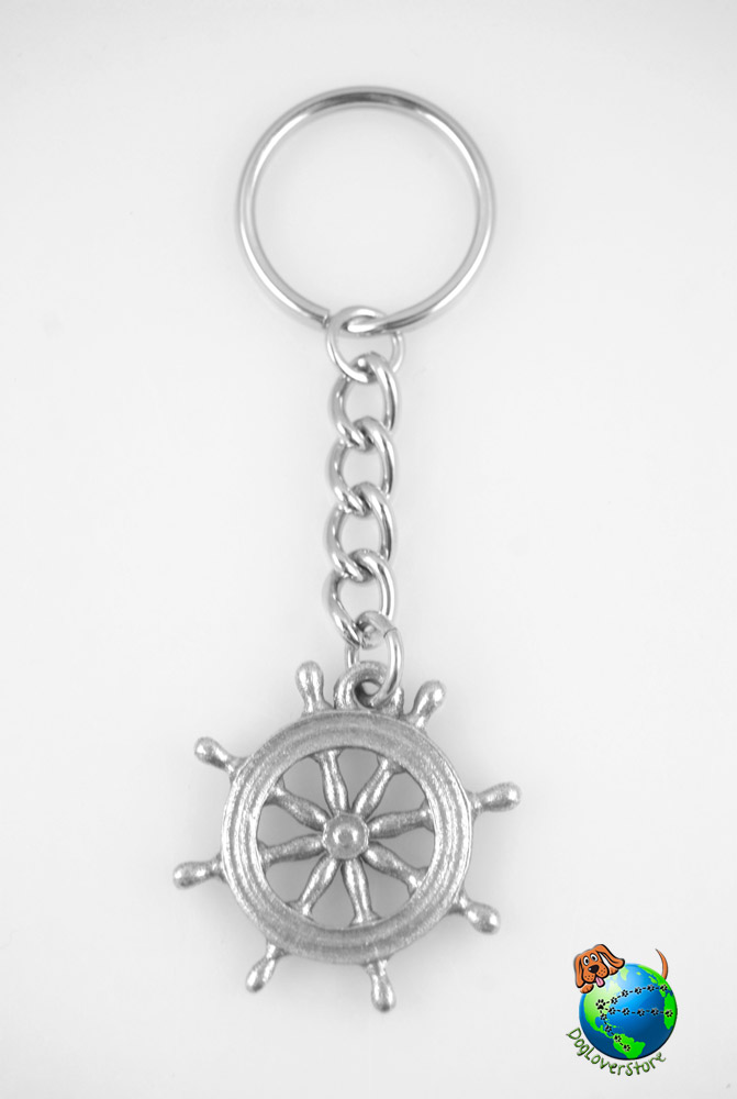 Captains Wheel Keychain Key Chain Ring Fine Pewter Silver