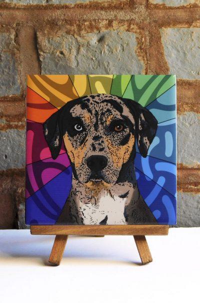 Catahoula Colorful Portrait Original Artwork on Ceramic Tile 4x4 Inches