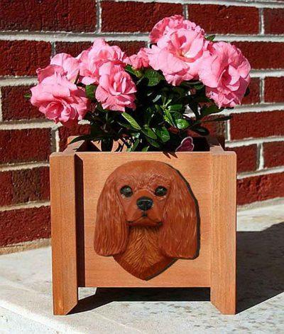 Cavalier King Charles Planter Flower Pot Ruby