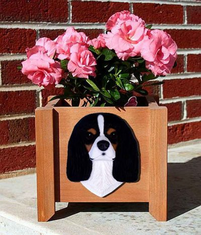 Cavalier King Charles Planter Flower Pot Tri 1