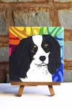 Cavalier King Charles Black/White Colorful Portrait Original Artwork on Ceramic Tile 4x4 Inches