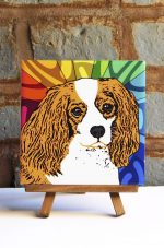 Cavalier King Charles Brown/White Colorful Portrait Original Artwork on Ceramic Tile 4x4 Inches