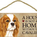 Cavalier King Charles Wood Dog Sign Wall Plaque Photo Display A House Is Not A H + Bonus Coaster 1
